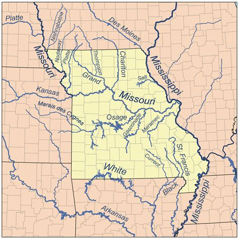 map of usa missouri river current river ozarks