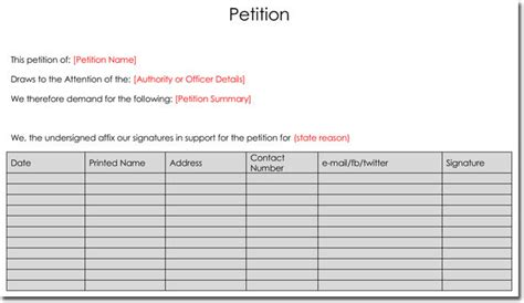 petition template word petition templates create your own petition with 20