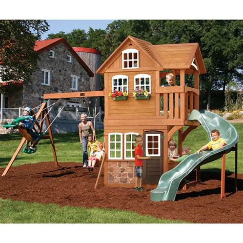 childrens wooden swing and slide sets backyard playground and swing sets ideas backyard play
