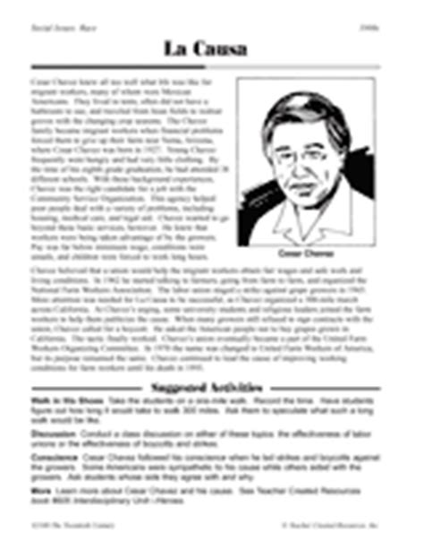 Cesar Chavez Worksheet by La Causa Cesar Chavez Printable 5th 8th Grade