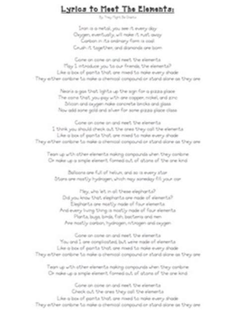 The New Periodic Table Song Lyrics by Song With Lyrics Cool Science And Lyrics To On