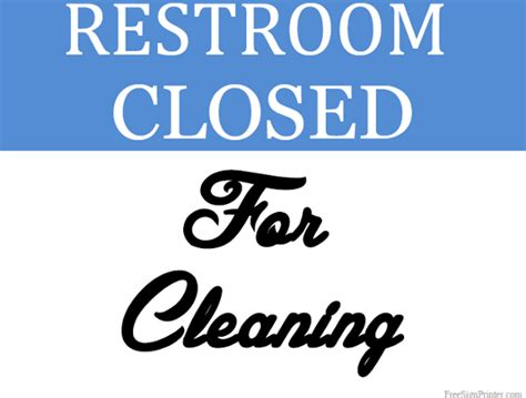 bathroom closed sign printable restroom closed for cleaning sign