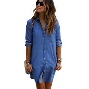 denim long shirt dress blue jean dresses for women