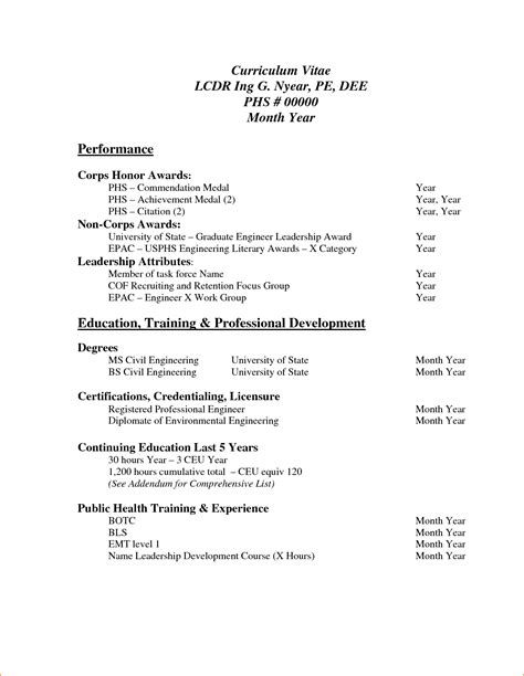 pdf resume template 8 sle of curriculum vitae for application pdf