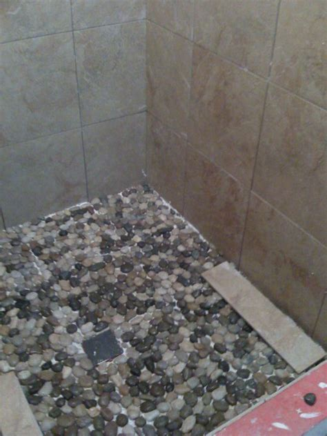 river rock shower floor bathroom pinterest river rock shower floor river rock tile for shower floor