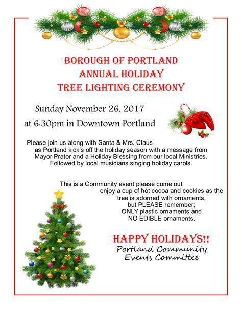 tree lighting portland 2017 portland annual tree lighting nov 26 2017 borough of