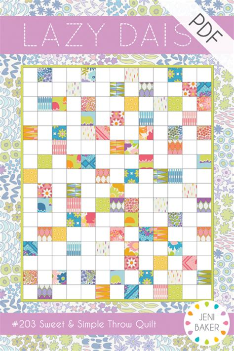 printable fabric sheets quilting jeni baker patterns lazy daisy quilt pdf pattern