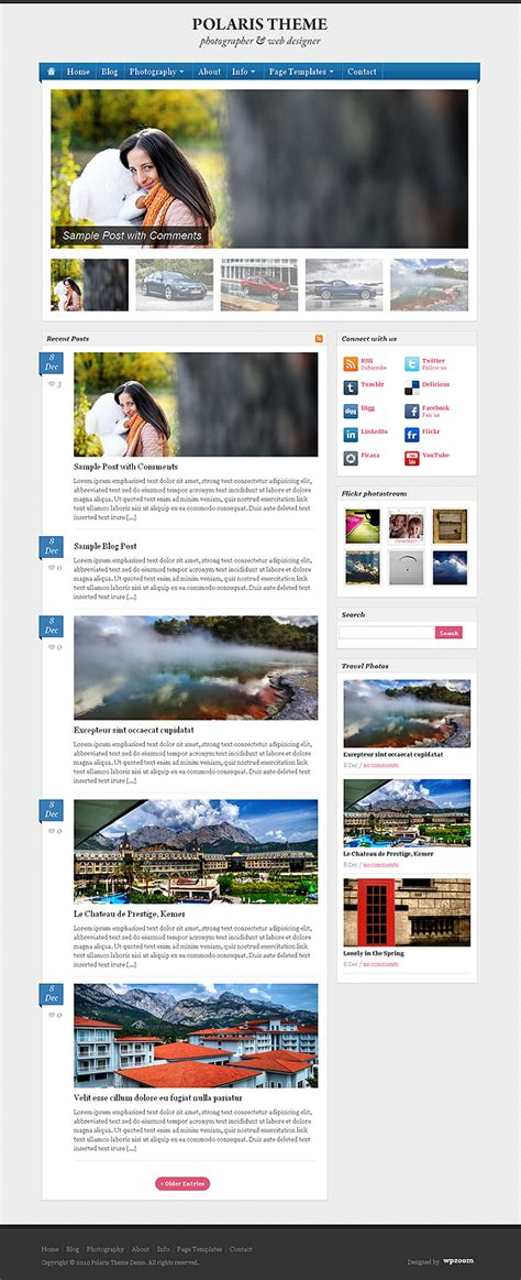 wordpress photoblog themes photography blogging wordpress theme polaris dobeweb