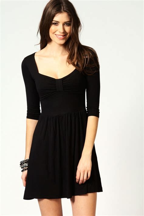 Front Simple Dress black dress polly bow front skater dress my style simple black dress
