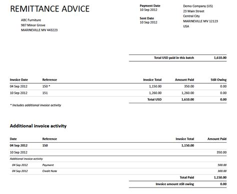 payment advice template remittance advice and tracking on budgets xero