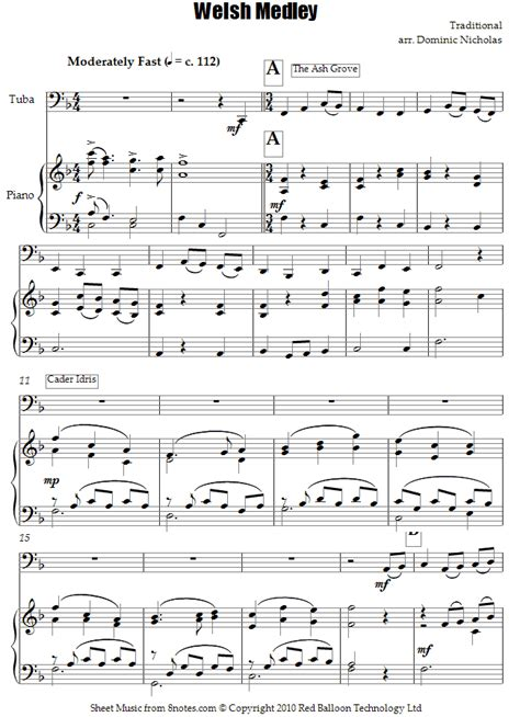 piece of music between sections of a play welsh folk song medley sheet music for tuba 8notes com