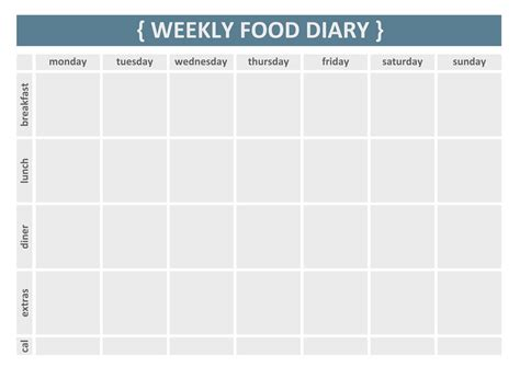 food journal template 7 day diary template calendar template 2016