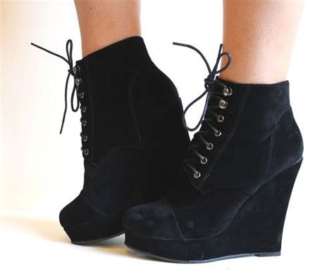 new womens high wedge heel toe lace up micro suede
