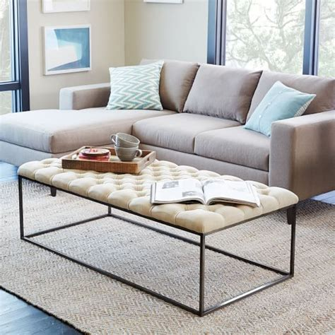 pottery barn tufted ottoman image gallery tufted ottoman