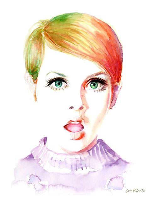 fashion illustration watercolor watercolor fashion illustration twiggy cool 60s