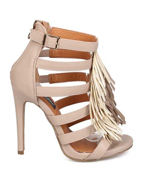 fringe sandals heels new dbdk blairy 2 leatherette open toe strappy