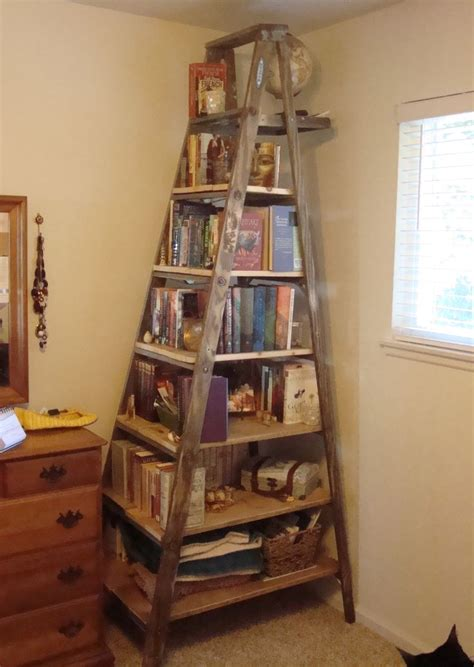 Ladder For Bookcase I Made This Book Shelf Out Of An 8 Ft Wooden Ladder And Some Wooden Planks House Decor