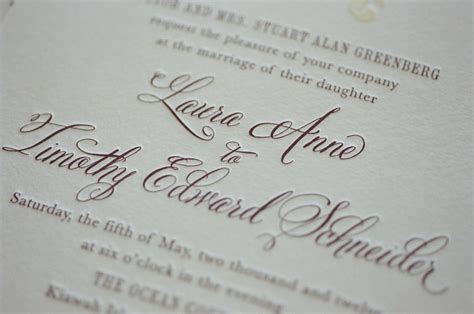 Wedding Invitation Font by Letterpress Wedding Invitation With Belluccia Calligraphy