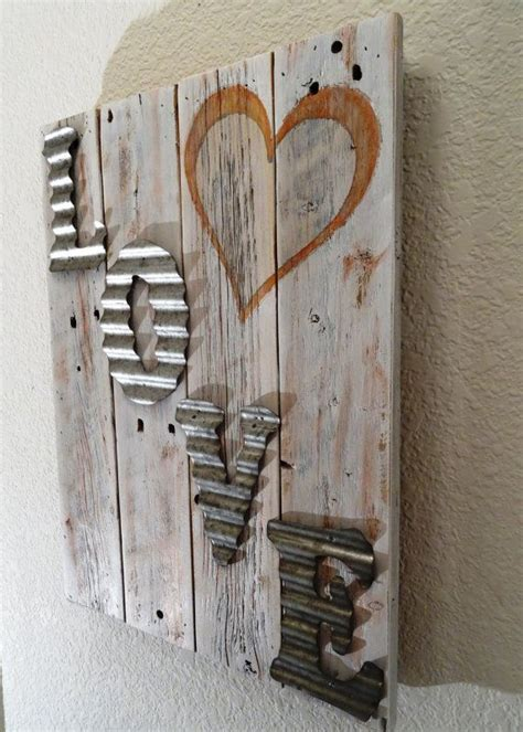 wood crafts projects rustic wood sign with corrugated tin letters by