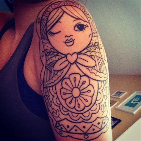 matryoshka tattoo russian doll lines half sleeve nesting doll