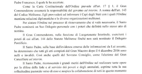 Resignation Letter Malta Rorate C 198 Li De Mattei Last Chance Will The Malta Knights Fold Or Resist Cardinal Parolin