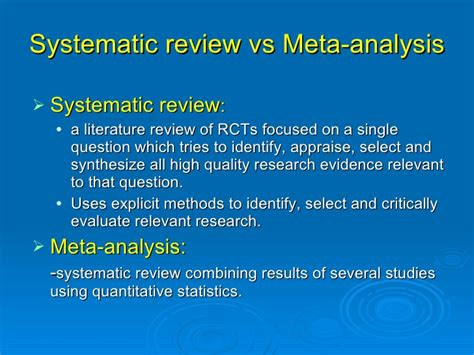 Meta Analysis Vs Review Of Literature by Rml Rendezvous Evidence Based Nursing