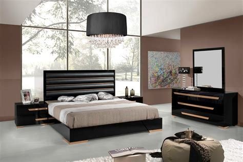 black bedroom nova domus romeo italian modern black rosegold bedroom set