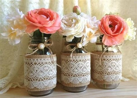 bridal shower table decorations with jars 3 burlap and lace covered jar vases wedding deocration bridal shower engagement