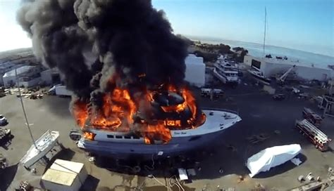fire boat captain watch drone films as luxury yacht gets destroyed by fire