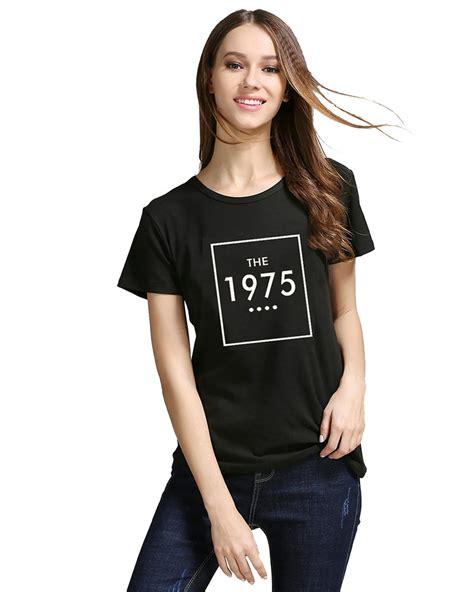 White Muse Print Top Blouse Tshirt sleeve letter print t shirt the 1975 cotton casual for white black tops