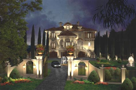 Mediterranean Villa House Plans by Mediterranean Villa Above On Three Levels See