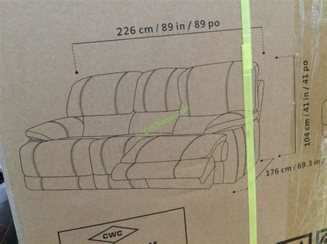 costco electric reclining sofa costco 4560014 leather power reclining sofa size