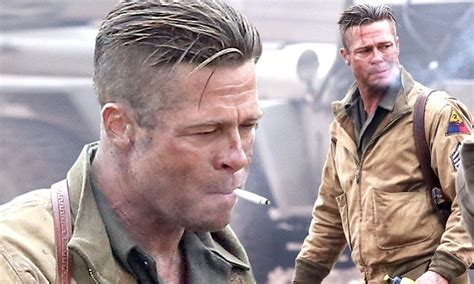 fury haircut life s brad pitt smokes his way through another day on set of new