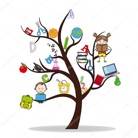libro rboles trees aprender 193 rbol con iconos de la educaci 243 n y los ni 241 os la lectura vector de stock 169 sbego 73032155