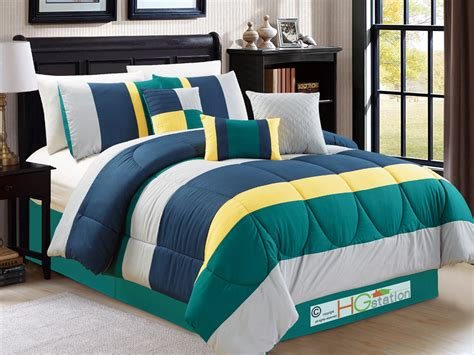 green and yellow comforter sets 7 pc modern striped comforter set teal green navy blue