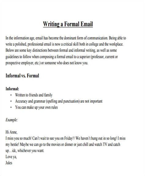 formal email format for university 8 formal e mail templates free psd eps ai format