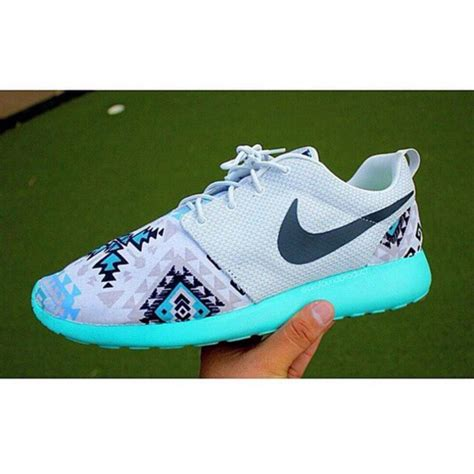 tribal pattern roshe runs shoes nike roshe run white black blue tribal pattern