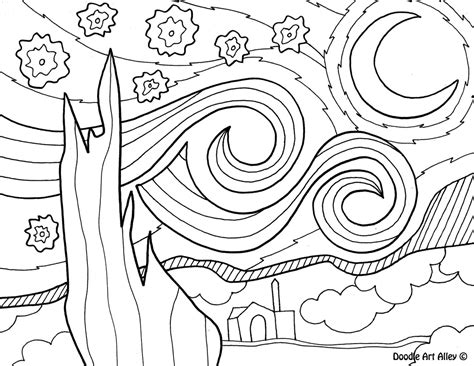 Starry Coloring Page Gogh Famous Art Work Coloring Pages Classroom Doodles by Starry Coloring Page Gogh