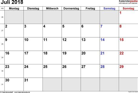 Kalender Juli 2018 Kalender Juli 2018 Als Excel Vorlagen