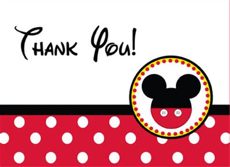 Mickey Mouse Thank You Card Template by Mickey Mouse Thank You Card