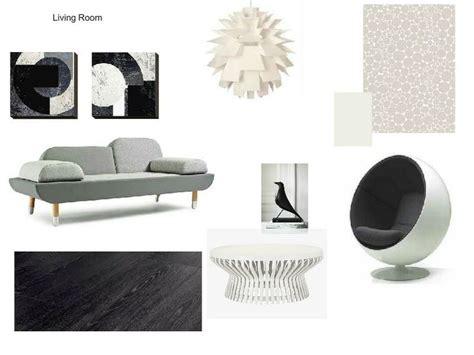modern living room  grey white  black tones