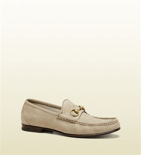 beige suede loafers gucci 1953 horsebit loafer in suede in beige for lyst