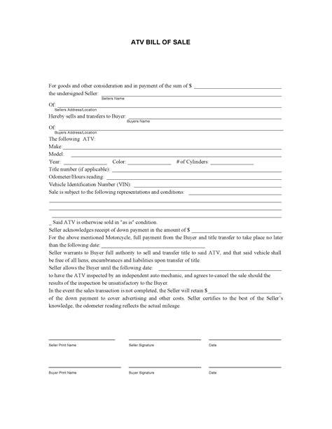 Free Atv Bill Of Sale Form Pdf Docx Atv Bill Of Sale Template