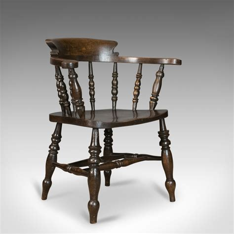 antique armchair english victorian elm bow  smokers captains chair