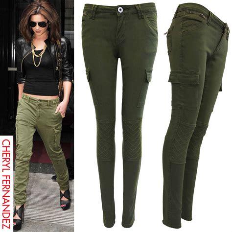 green plus size khaki pants for women new womens ladies skinny fit cargo jeans khaki zip combat