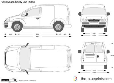 Maxi Color Box 4 In1 volkswagen caddy panel vector drawing