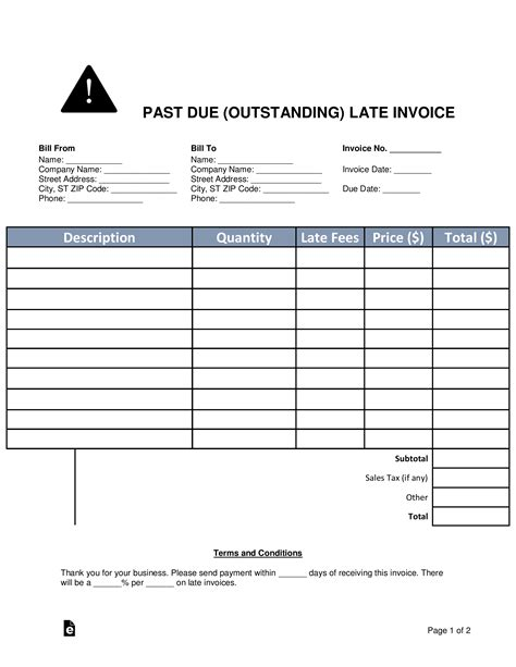 due outstanding late invoice word