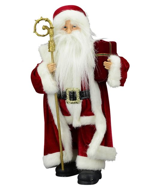 decorative santa claus with gift staff 46cm