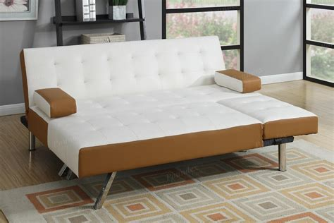poundex nit f7887 white leather sectional sofa bed