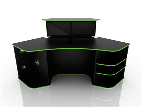 corner computer desk for gaming black color with green